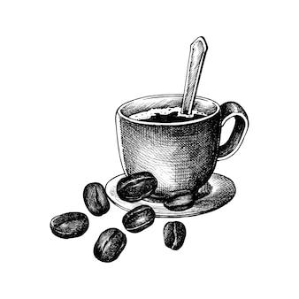 Hand drawm kaffee und kaffeebohnen