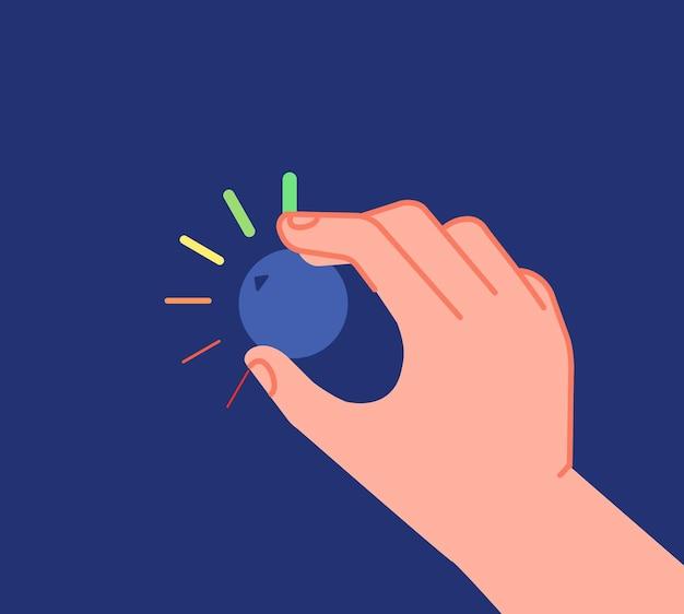 Hand dreht knopf. niedrige hohe pegel, lautstärke-equalizer oder änderungsreduzierungsknopf. geschäftsmann, der investition äußerste prozessvektormetapher einstellt. abbildung unterste optimierung, reglerregelung