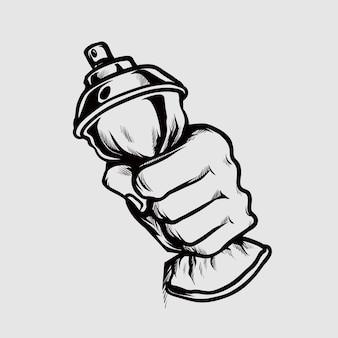 Hand drücken sie die sprühfarbenflasche handzeichnungsillustration