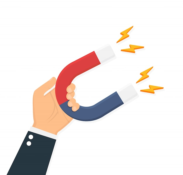 Hand eines geschäftsmannes mit magnet. illustration in einem flachen stil