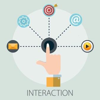 Hand finger interaktives geschäft