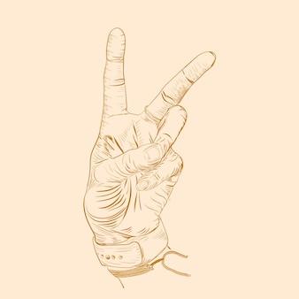 Hand frieden gravur illustration