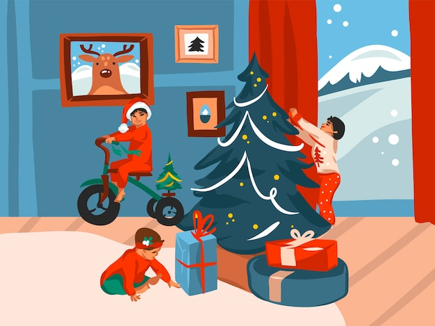 Hand frohe weihnachten und frohes neues jahr zeit cartoon illustration
