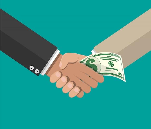 Hand geben geld an andere hand
