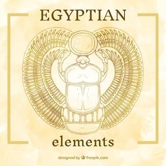 Hand gemalte ägyptische element
