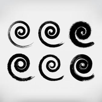 Hand gemalten spiralen gesetzt