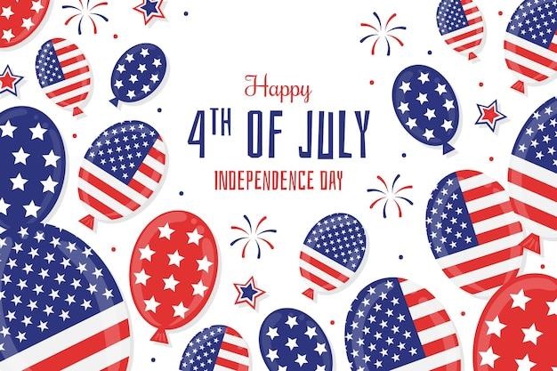 Hand gezeichnet 4. juli - unabhängigkeitstag ballons hintergrund
