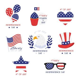 Hand gezeichnet 4. juli - unabhängigkeitstag etikettenkollektion