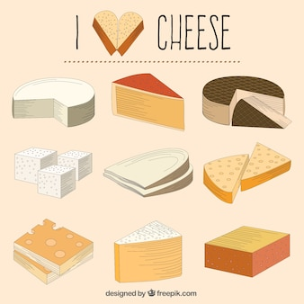 Hand gezeichnet abwechslungsreiche käse