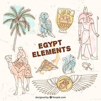 Hand gezeichnet ägypten elemente
