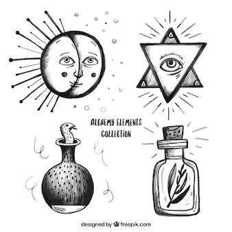 Hand gezeichnet alchemie symbole pack