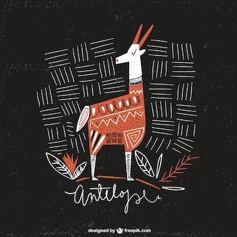 Hand gezeichnet antilope