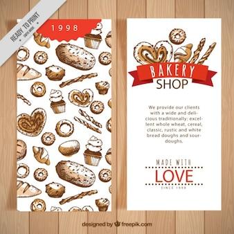 Hand gezeichnet aquarell bäckerei-flyer