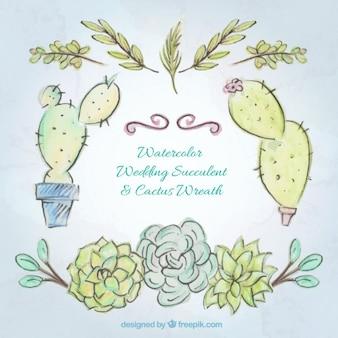 Hand gezeichnet aquarell kaktus und blätter