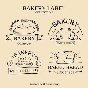 Hand gezeichnet bäckerei abzeichen packung