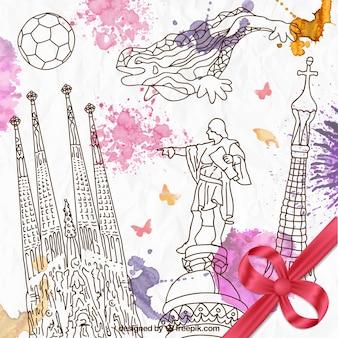 Hand gezeichnet barcelona elemente