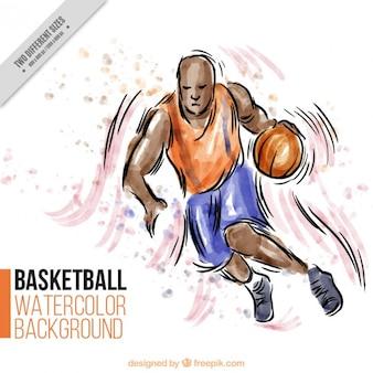 Hand gezeichnet basketball-spieler hintergrund