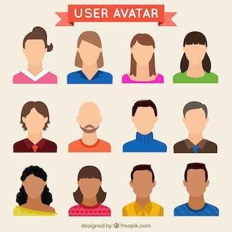 Hand gezeichnet benutzer avatare gesetzt
