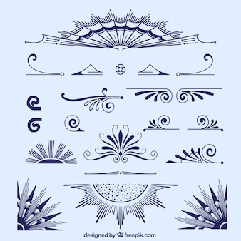 Hand gezeichnet blauen ornamenten sammlung