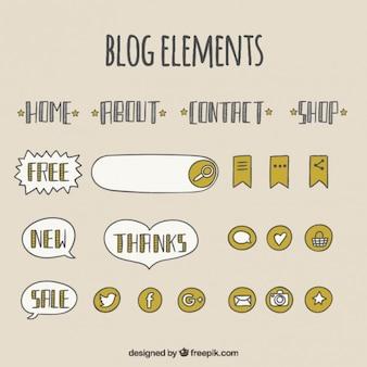 Hand gezeichnet blog-menü und elemente