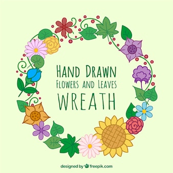 Hand gezeichnet blumenkranz