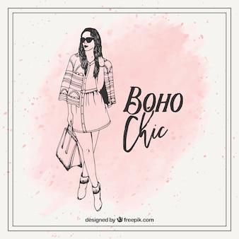 Hand gezeichnet boho chic mode mädchen