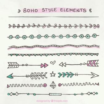 Hand gezeichnet boho-stil grenzen pack