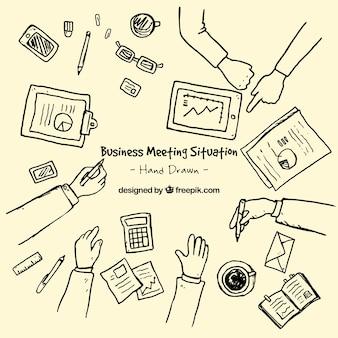 Hand gezeichnet business-meeting