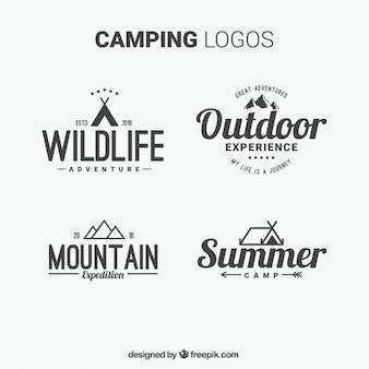 Hand gezeichnet camping logos mit typografie