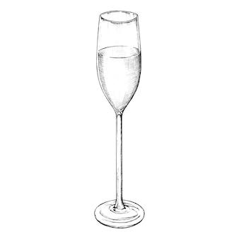 Hand gezeichnet champagnerglas
