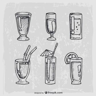 Hand gezeichnet cocktails und alkoholfreie getränke