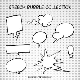 Hand gezeichnet comic-weißen sprechblasen
