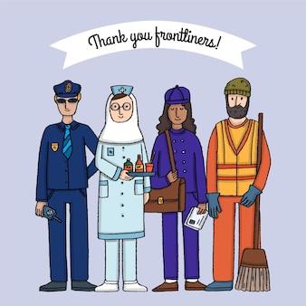 Hand gezeichnet danke wesentliche arbeiter illustration