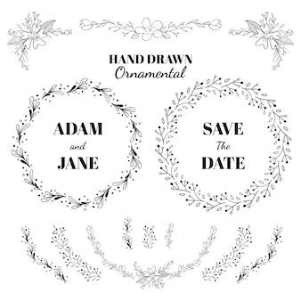 Hand gezeichnet dekorative element sammlung
