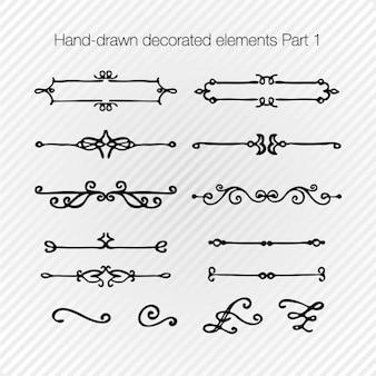 Hand gezeichnet dekoriert elemente