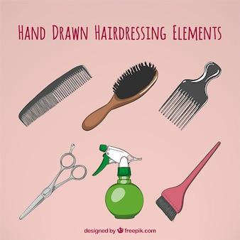 Hand gezeichnet dinge von hairdrassing