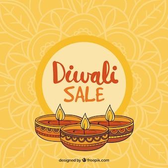 Hand gezeichnet diwali verkauf hintergrund