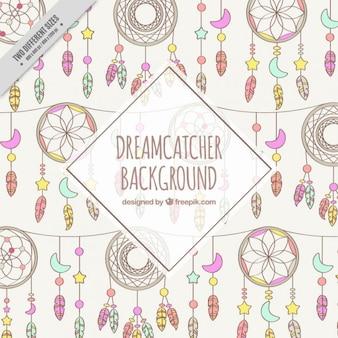 Hand gezeichnet dreamcatchers hintergrund