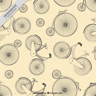 Hand gezeichnet einrad und fahrrad hintergrund