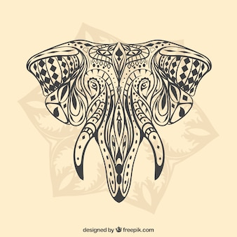 Hand gezeichnet ethnischen elefanten