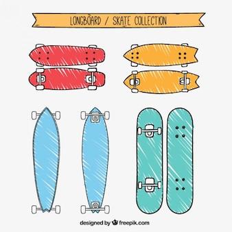 Hand gezeichnet farbige longboard-kollektion