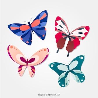 Hand gezeichnet farbige schmetterlinge fliegen zusammen