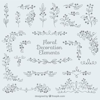 Hand gezeichnet floralen dekoration pack