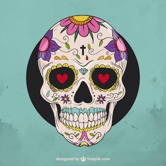 Hand gezeichnet floralen sugar skull