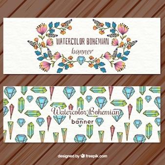 Hand gezeichnet floralen und kristall-banner
