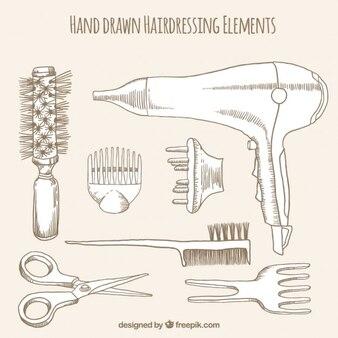 Hand gezeichnet friseur elements