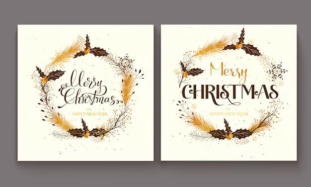 Hand gezeichnet, frohe weihnacht-illustration beschriftend.