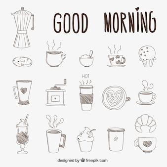 Hand gezeichnet frühstück
