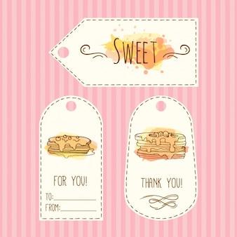 Hand gezeichnet geschenkaufkleber mit pfannkuchen