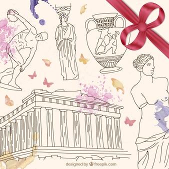 Hand gezeichnet griechenland kultur
